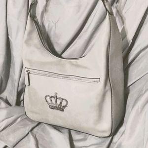 Light grey hobo shoulder bag with crown emblem